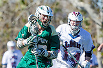 Los Angeles, CA 02/06/16 - Daniel Wessel (Cal Poly #33) and Dustin Marinelli (Loyola Marymount #14)in action during the Cal Poly SLO Mustangs vs Loyola Marymount Lions MCLA Men's Lacrosse game.  Cal Poly defeated LMU 24-5