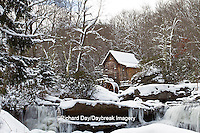 67395-04301 Glade Creek Grist Mill in winter, Babcock State Park, WV