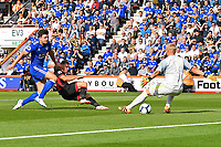 Ryan Fraser of AFC Bournemouth slips the ball under Leicester City keeper Kasper Schmeichel under pressure from Harry Maguire for the second goal during AFC Bournemouth vs Leicester City, Premier League Football at the Vitality Stadium on 15th September 2018