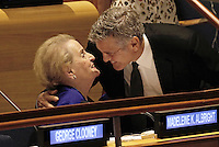 United States actor George Clooney (R) embraces former US Secretary of State Madeleine Albright at a Leaders Summit for Refugees during the United Nations 71st session of the General Debate at the United Nations General Assembly at United Nations headquarters in New York, New York, USA, 20 September 2016. Photo Credit: Peter Foley/CNP/AdMedia