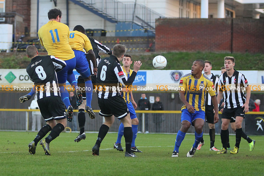 Abs Seymour of Romford (3rd L) rises to head the equalising goal for his team - Romford vs Dereham Town - Ryman League Division One North Football at Ship Lane, Thurrock FC - 02/11/13 - MANDATORY CREDIT: Gavin Ellis/TGSPHOTO - Self billing applies where appropriate - 0845 094 6026 - contact@tgsphoto.co.uk - NO UNPAID USE