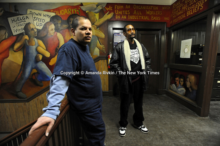 Armando Robles and Melvin Maclin are seen at the United Electrical Workers Western Region Union Hall, a day after Serious Materials of Sunnyvale, California announced plans to buy the Republic Windows and Doors Factory whose closure led to a 6-day sit-in strike last December and rehire the old workers, in Chicago, Illinois on February 26, 2009. Robles worked at Republic Windows and Doors for eight years and is the president of the local union chapter and Maclin worked there for seven years and is vice-president of the local union chapter.