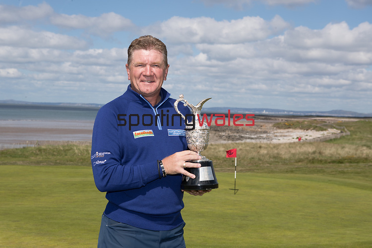 The Senior Open Championship Presented by Rolex Media Day.<br /> Defending Champion Paul Broadhurst.<br /> Royal Porthcawl<br /> 26.04.17<br /> ©Steve Pope - Sportingwales