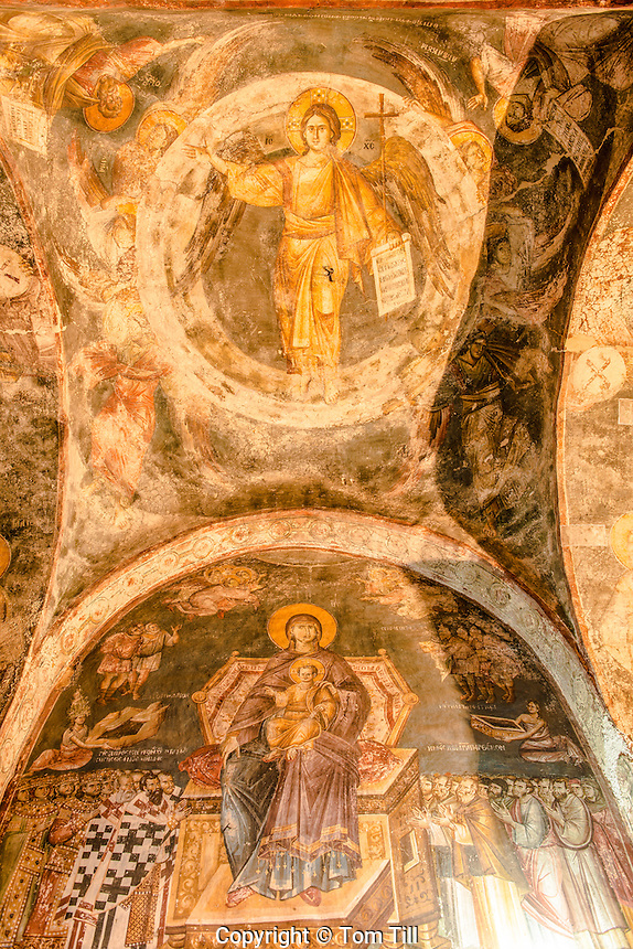 Detail of frescoes, , Holy Mother of God Peribleptos Church, OhridMacedonia, Built in 1295,  Soem of the finest examples of Byzantine frescoes in the world