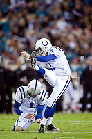 December 17, 2009:     Indianapolis Colts PK Matt Stover (3) kicks an extra point during AFC South Conference action between the Indianapolis Colts and Jacksonville Jaguars at Jacksonville Municipal Stadium in Jacksonville, Florida.  Indianapolis defeated Jacksonville 35-31............