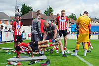 Lincoln City assistant sports therapist Luke Treadwell works with Lincoln City's Bruno Andrade during a fitness session after the game<br /> <br /> Photographer Chris Vaughan/CameraSport<br /> <br /> Football Pre-Season Friendly (Community Festival of Lincolnshire) - Lincoln City v Lincoln United - Saturday 6th July 2019 - The Martin & Co Arena - Gainsborough<br /> <br /> World Copyright © 2018 CameraSport. All rights reserved. 43 Linden Ave. Countesthorpe. Leicester. England. LE8 5PG - Tel: +44 (0) 116 277 4147 - admin@camerasport.com - www.camerasport.com