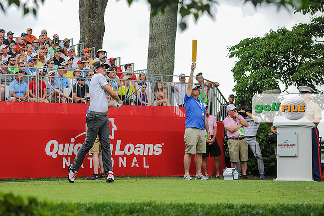 Keegan Bradley (USA) watches his tee shot on 1 during round 2 of the 2016 Quicken Loans National, Congressional Country Club, Bethesda, Maryland, USA. 6/24/2016.<br /> Picture: Golffile | Ken Murray<br /> <br /> <br /> All photo usage must carry mandatory copyright credit (&copy; Golffile | Ken Murray)