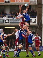 Bath Rugby's Tom Ellis claims a line out<br /> <br /> Photographer Bob Bradford/CameraSport<br /> <br /> Gallagher Premiership - Bath Rugby v Northampton Saints - Saturday 22 September 2018 - The Recreation Ground - Bath<br /> <br /> World Copyright &copy; 2018 CameraSport. All rights reserved. 43 Linden Ave. Countesthorpe. Leicester. England. LE8 5PG - Tel: +44 (0) 116 277 4147 - admin@camerasport.com - www.camerasport.com