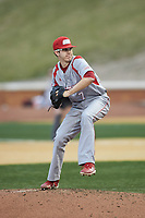 Sacred Heart Pioneers relief pitcher John Cerretani (7) in action against the Wake Forest Demon Deacons at David F. Couch Ballpark on February 15, 2019 in  Winston-Salem, North Carolina.  The Demon Deacons defeated the Pioneers 14-1. (Brian Westerholt/Four Seam Images)