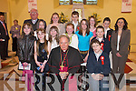Bishop Bill Murphy with Fybough National School students who made their Confirmation in St Gobnaits Church, Keel, last Wednesday, with their teacher Eileen Lovett and Fr Roche..