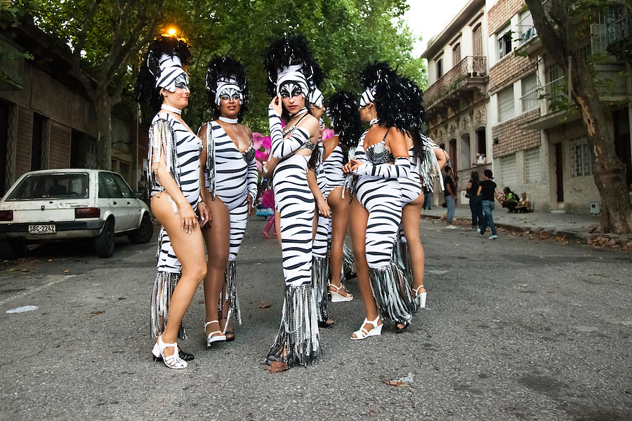 A group of dancers waiting for the parade of Llamadas during Carnaval in Montevideo, Uruguay.