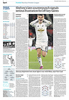 The Guardian 02-Feb-2015 - 'Jonjo Shelvey celebrates after scoring Swansea's 83rd-minute winner with a stunning shot from distance' - Photo by Rob Newell (Digital South)