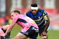 Levi Douglas of Bath Rugby looks on. Anglo-Welsh Cup Final, between Bath Rugby and Exeter Chiefs on March 30, 2018 at Kingsholm Stadium in Gloucester, England. Photo by: Patrick Khachfe / Onside Images