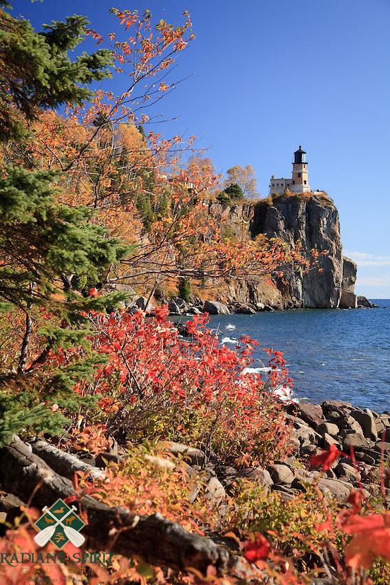 &quot;Autumn Shoreline at Split Rock Lighthouse&quot;<br /> <br /> Lake Superior's rocky shoreline at Split Rock Lighthouse is adorned with autumn's vibrant pallette.