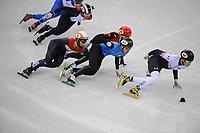 OLYMPIC GAMES: PYEONGCHANG: 10-02-2018, Gangneung Ice Arena, Short Track, Heats 1500m Men, Thibaut Fauconnet (CAN), Sjinkie Knegt (NED), Hongzhi Xu (CHN), Nurbergen Zhumagaziyev (KAZ), John-Henry Krueger (USA), ©photo Martin de Jong