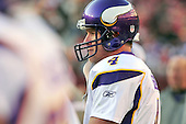 Minnesota Vikings quarterback Brett Favre (4) waits to return to the field during the fourth quarter of the game against the Washington Redskins at FedEx Field in Landover, Maryland on Sunday, November 28, 2010.  The Vikings won the game 17 - 13..Credit: Ron Sachs / CNP