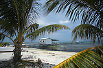 Belize, Central America - Ferry dock and office on pier in Caye Caulker.