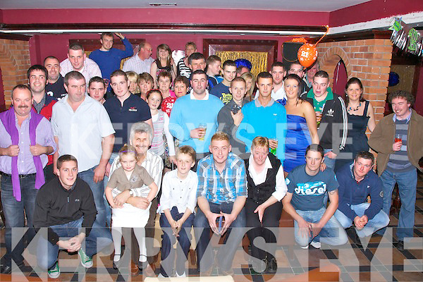 21 To-day Birthday boy Colm Moriarty, Boherboy, Cahersiveen seated front centre celebrated his 21 birthday with family and friends at Pulse Night club Cahersiveen on Saturday night last.