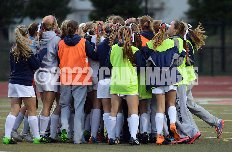 CB East players celebrate after defeating Downingtown West to win the District One AAA Cgirls soccer championship Saturday November 7, 2015 in Souderton, Pennsylvania.  (Photo by William Thomas Cain)