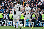 Real Madrid's (L-R) Luka Modric, Gareth Bale and Karim Benzema celebrate goal during La Liga match between Real Madrid and Athletic Club de Bilbao at Santiago Bernabeu Stadium in Madrid, Spain. April 21, 2019. (ALTERPHOTOS/A. Perez Meca)
