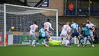 Adebayo Akinfenwa of Wycombe Wanderers scores his goal during the Sky Bet League 2 match between Wycombe Wanderers and Crawley Town at Adams Park, High Wycombe, England on 25 February 2017. Photo by Andy Rowland / PRiME Media Images.
