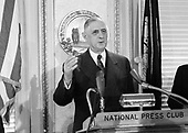 "President Charles de Gaulle of France speaks at the National Press Club in Washington, DC on April 23, 1960.  President de Gaulle is in Washington for a State visit to focus on talks with United States President Dwight D. Eisenhower in anticipation of the upcoming Big Four summit in May in Paris. It will be the first such meeting of leaders from the US, Great Britain, France, and the Soviet Union since World War II.<br /> Credit: Benjamin E. ""Gene"" Forte / CNP"
