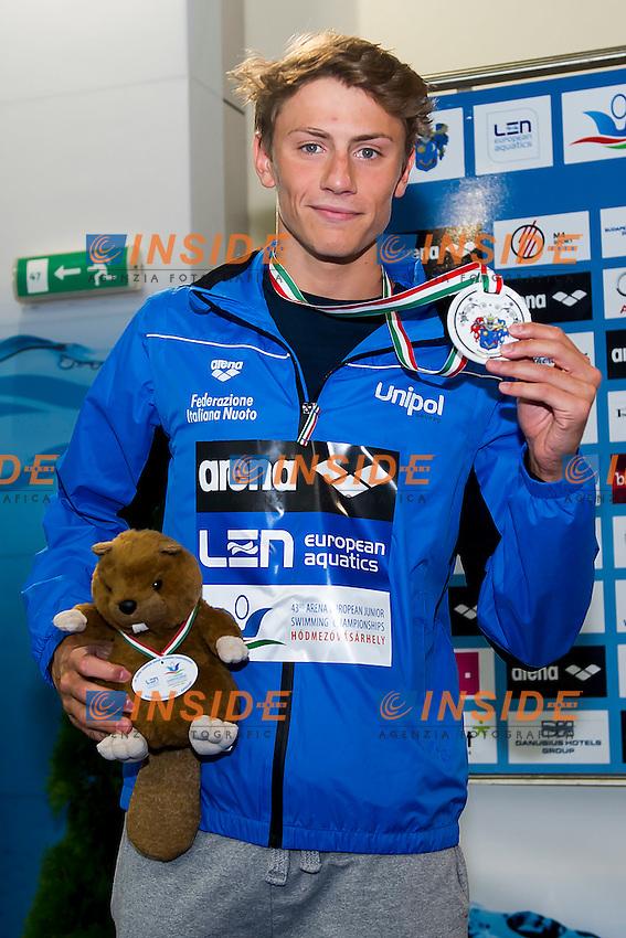 Martinenghi Nicolo ITA<br /> 200 Breaststroke Men Final Silver Medal<br /> LEN 43rd Arena European Junior Swimming Championships<br /> Hodmezovasarhely, Hungary <br /> Day02 07-07-2016<br /> Photo Andrea Masini/Deepbluemedia/Insidefoto