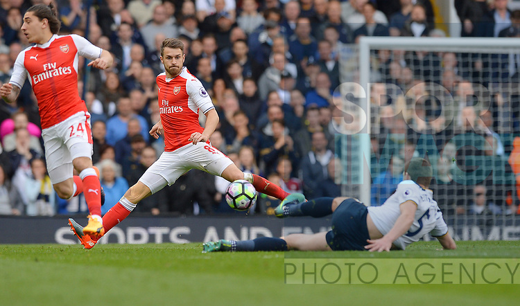 Aaron Ramsey of Arsenal is challenged by Jan Vertonghen of Tottenham Hotspur during the English Premier League match at the White Hart Lane Stadium, London. Picture date: April 30th, 2017.Pic credit should read: Robin Parker/Sportimage