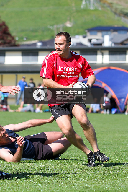 NELSON, NEW ZEALAND - SEPTEMBER 26: Touch Rugby at Ngawhatu during the NZCT South Island Masters Games, 26 September 2015, Nelson, New Zealand<br />
