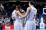 Real Madrid's Sergio Llull, Jeffery Taylor and Luka Doncic during Liga Endesa match between Real Madrid and FC Barcelona Lassa at Wizink Center in Madrid, Spain. March 12, 2017. (ALTERPHOTOS/BorjaB.Hojas)