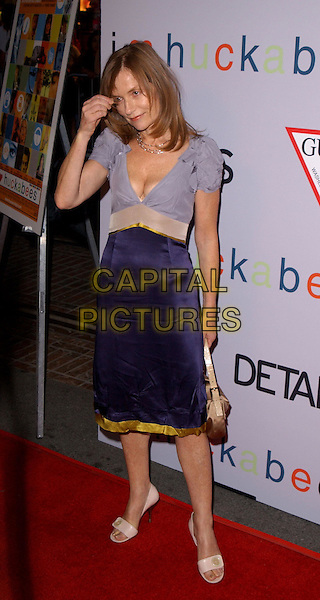 """ISABELLE HUPERT.Attends Fox Searchlight's L.A. Premiere of """"I Heart Huckabees"""" held at The Grove in Los Angeles, California on September 22nd 2004..full length blue dress gold trim lilac top low cut boobs cleavage.Ref: DVS.www.capitalpictures.com.sales@capitalpictures.com.©Debbie VanStory/Capital Pictures ."""