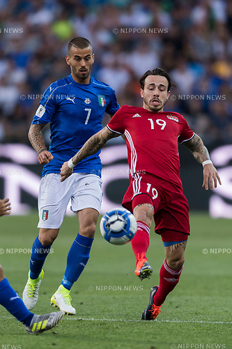 Leonardo Spinazzola (ITA), Dennis Salanovic (LIE), JUNE 11, 2017 - Football / Soccer : FIFA World Cup Russia 2018 European Qualifier Group G match between Italy 5-0 Liechtenstein at Dacia Arena in Udine, Italy. (Photo by Maurizio Borsari/AFLO)
