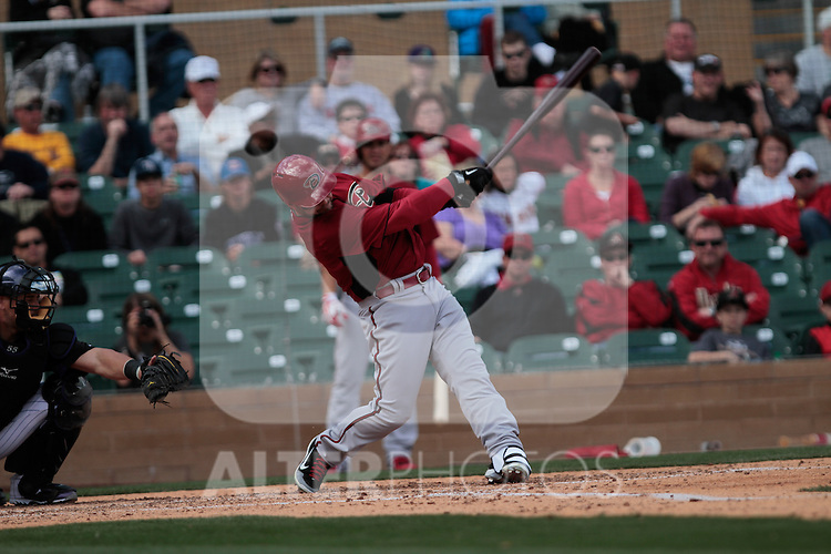 Cody Ross of Diamondbacks ,during   Colorado Rockies vs Arizona Diamondbacks, game of  Cactus league and Spring Trainig 2013..Salt River Fields stadium in Arizona. February 24, 2013