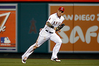 Josh Hamilton #32 of the Los Angeles Angels in the field during a game against the Detroit Tigers at Angel Stadium on April 19, 2013 in Anaheim, California. (Larry Goren/Four Seam Images)