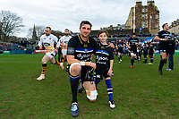 Luke Charteris of Bath Rugby poses for a photo with the matchday mascot. Heineken Champions Cup match, between Bath Rugby and Wasps on January 12, 2019 at the Recreation Ground in Bath, England. Photo by: Patrick Khachfe / Onside Images