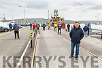 Robert Brosnan front of photo with other fishermen holding a peaceful protest on the docks in Dingle on Monday to stop foreign boats docking due the health issues from Covrid-19