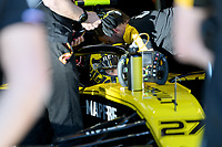 March 15, 2019: Nico Hulkenberg (DEU) #27 from the Renault F1 Team in the garage during practice session two at the 2019 Australian Formula One Grand Prix at Albert Park, Melbourne, Australia. Photo Sydney Low
