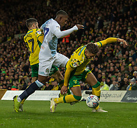 Blackburn Rovers' Amari'i Bell (centre) battles with Norwich City's Emi Buendia (left) & Norwich City's Max Aarons (right) <br /> <br /> Photographer David Horton/CameraSport<br /> <br /> The EFL Sky Bet Championship - Norwich City v Blackburn Rovers - Saturday 27th April 2019 - Carrow Road - Norwich<br /> <br /> World Copyright © 2019 CameraSport. All rights reserved. 43 Linden Ave. Countesthorpe. Leicester. England. LE8 5PG - Tel: +44 (0) 116 277 4147 - admin@camerasport.com - www.camerasport.com