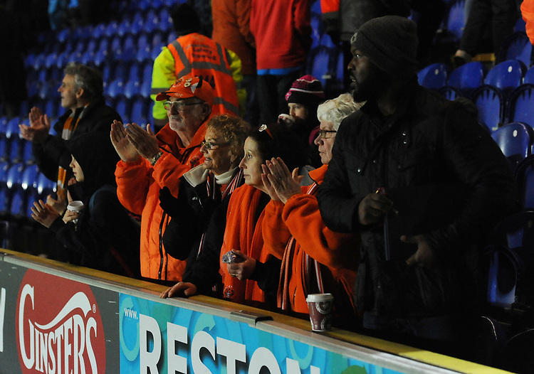 Blackpool fans applaud their team at the final whistle <br /> <br /> Photographer Kevin Barnes/CameraSport<br /> <br /> The EFL Sky Bet League One - AFC Wimbledon v Blackpool - Saturday 29th December 2018 - Kingsmeadow Stadium - London<br /> <br /> World Copyright © 2018 CameraSport. All rights reserved. 43 Linden Ave. Countesthorpe. Leicester. England. LE8 5PG - Tel: +44 (0) 116 277 4147 - admin@camerasport.com - www.camerasport.com