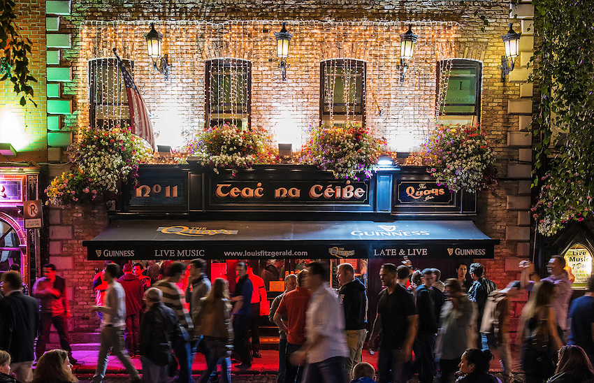 A popular pub in the Temple Bar section of Dublin, Ireland, viewed on a busy Friday night