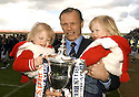 07/05/2005         Copyright Pic : James Stewart.File Name : jspa10_falkirk_v_qots.JOHN HUGHES WITH THE TROPHY AND HIS DAUGHTERS JESSICA AND VICTORIA.Payments to :.James Stewart Photo Agency 19 Carronlea Drive, Falkirk. FK2 8DN      Vat Reg No. 607 6932 25.Office     : +44 (0)1324 570906     .Mobile   : +44 (0)7721 416997.Fax         : +44 (0)1324 570906.E-mail  :  jim@jspa.co.uk.If you require further information then contact Jim Stewart on any of the numbers above.........A