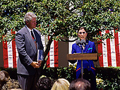 Judge Ruth Bader Ginsburg of the United States Court of Appeals for the District of Columbia makes remarks at the ceremony where US President Bill Clinton nominated her  to be Associate Justice of the Supreme Court in the Rose Garden of the White House in Washington, DC on June 14, 1993.  If confirmed, Judge Ginsburg will replace Associate Justice Byron R. White.<br /> Credit: Ron Sachs / CNP