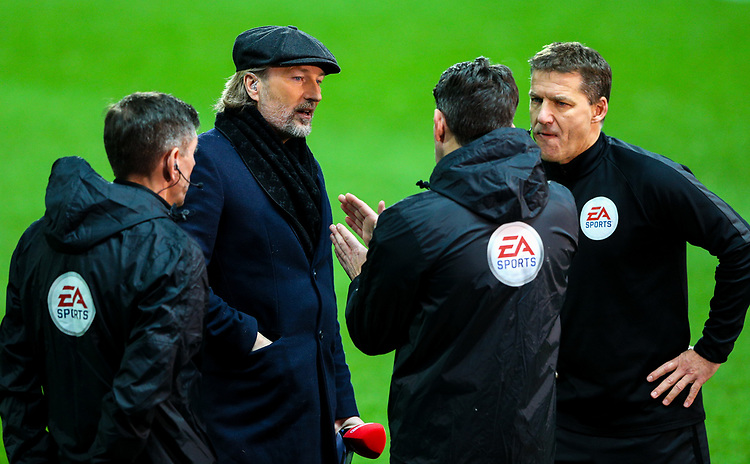 BT Sport pundit Robbie Savage has a word with referee Lee Probert<br /> <br /> Photographer Alex Dodd/CameraSport<br /> <br /> Emirates FA Cup Third Round Replay - Blackburn Rovers v Newcastle United - Tuesday 15th January 2019 - Ewood Park - Blackburn<br />  <br /> World Copyright &copy; 2019 CameraSport. All rights reserved. 43 Linden Ave. Countesthorpe. Leicester. England. LE8 5PG - Tel: +44 (0) 116 277 4147 - admin@camerasport.com - www.camerasport.com