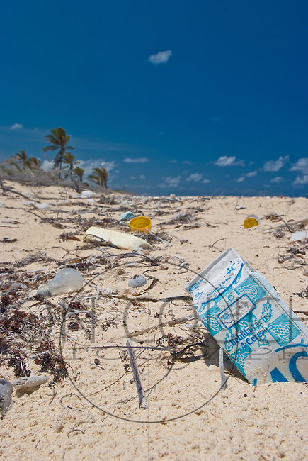 plastic trash washed ashore near Tulum, Mexico.