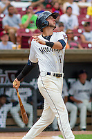 Wisconsin Timber Rattlers third baseman Lucas Erceg (17) at bat during a Midwest League game against the Lake County Captains on July 24, 2016 at Fox Cities Stadium in Appleton, Wisconsin. Lake County defeated Wisconsin 6-2. (Brad Krause/Four Seam Images)