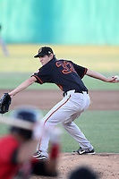 Bakersfield Blaze pitcher Jason Braun #33 pitches against the High Desert Mavericks at Mavericks Stadium on July 17, 2011 in Adelanto,California. Bakersfield defeated High Desert 11-10.(Larry Goren/Four Seam Images)