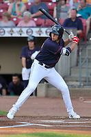 Cedar Rapids Kernels right fielder Alex Kirilloff (19) at bat against the Peoria Chiefs at Veterans Memorial Stadium on June 16, 2018 in Cedar Rapids, Iowa. The Kernels won 12-4.  (Dennis Hubbard/Four Seam Images)