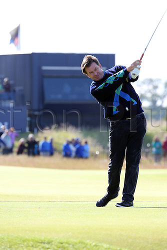 15.07.2015. The Old Course, St Andrews, Fife, Scotland.  Nick Faldo of England shots during a practice round of the 144th British Open Championship at the Old Course, St Andrews in Fife, Scotland.