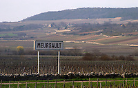 road sign vineyard meursault cote de beaune burgundy france