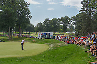 Ian Poulter (GBR) sinks his par putt on 3 during 4th round of the World Golf Championships - Bridgestone Invitational, at the Firestone Country Club, Akron, Ohio. 8/5/2018.<br /> Picture: Golffile | Ken Murray<br /> <br /> <br /> All photo usage must carry mandatory copyright credit (© Golffile | Ken Murray)